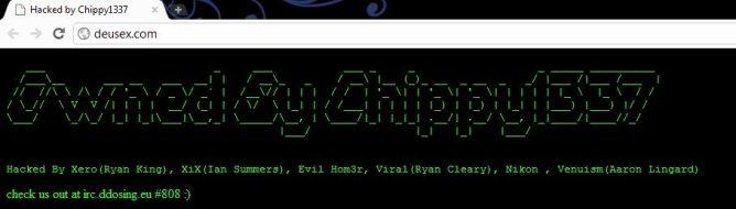 The message left on the hacked Deus Ex website