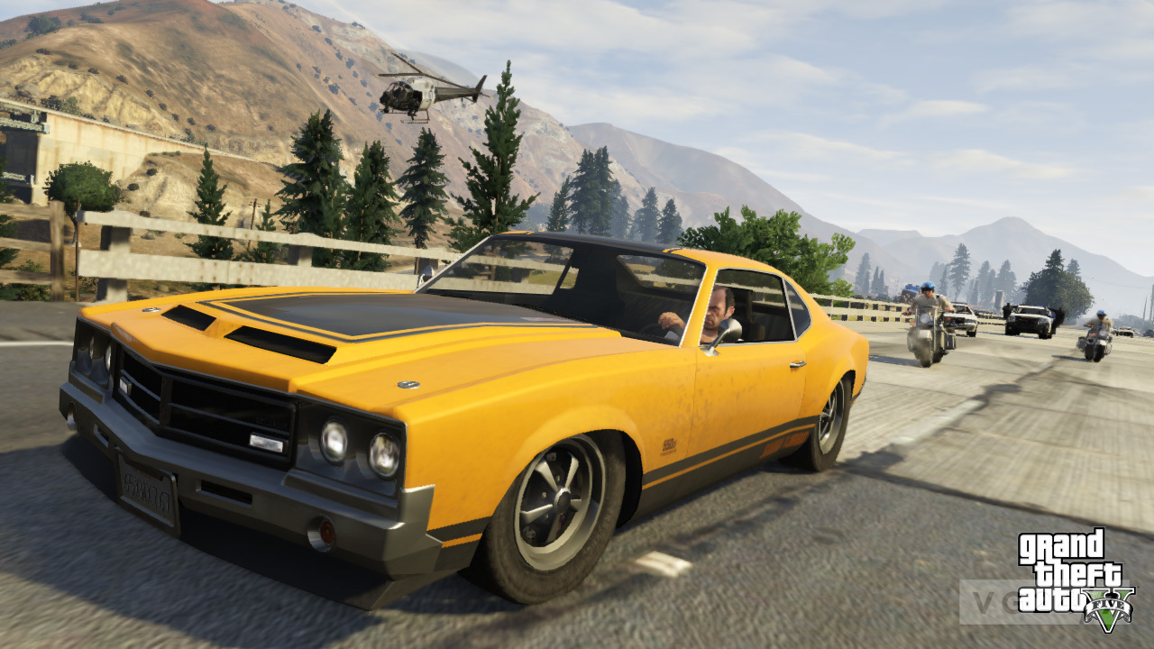 new gta 5 screens show muscle cars, and some grand theft auto - vg247