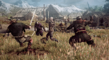 The_Witcher_3_Wild_Hunt_Geralt_fighting_multiple_opponents_in_a_village_in_Skellige