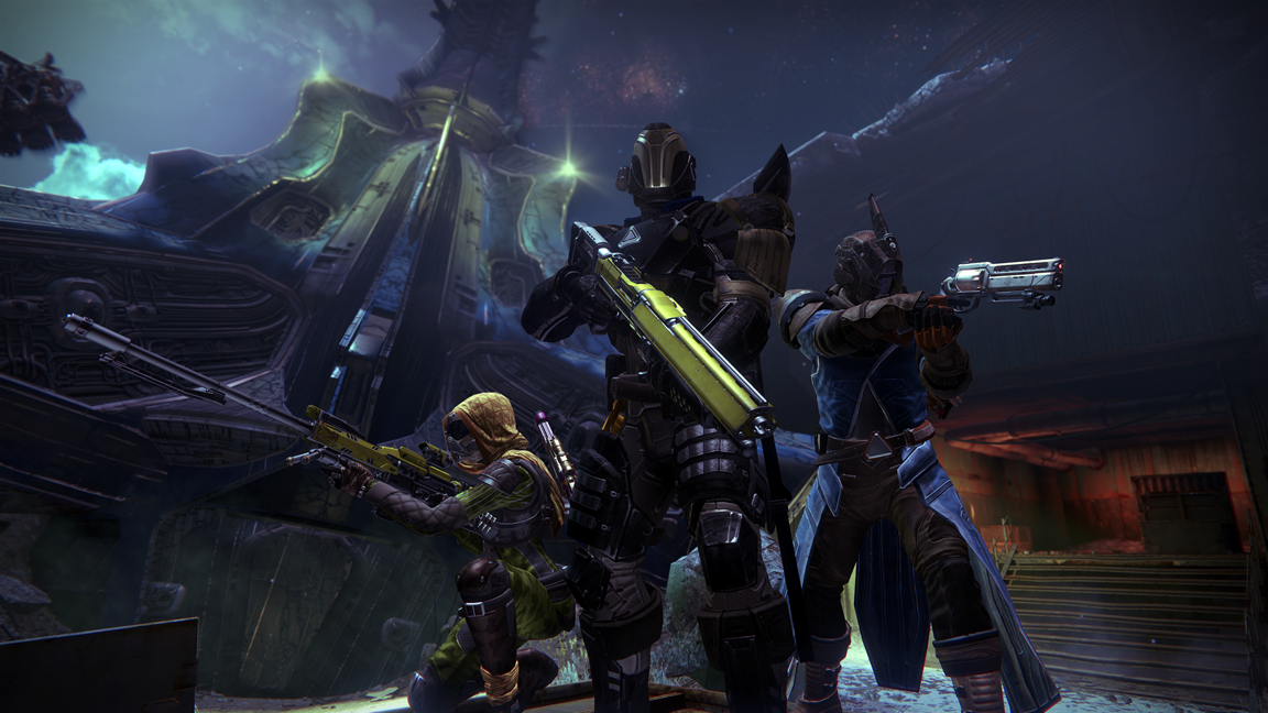 Three guardians on alert outside a Hive pod in the Cosmodrome_1398704277