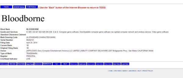 scea bloodborne trademark