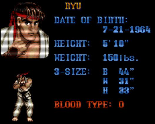 Street Fighter Ryu character sheet
