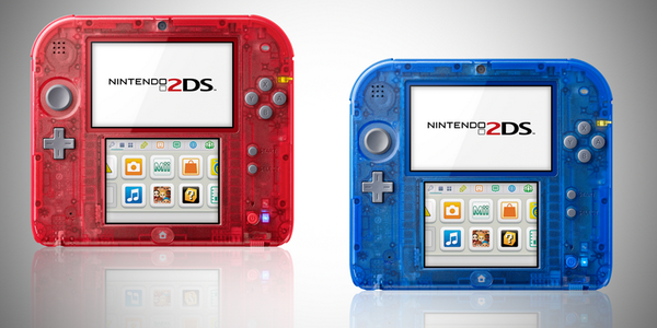 2DS transparent red and blue