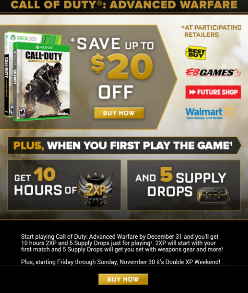 advanced warfare $20 offer and double xp rumour