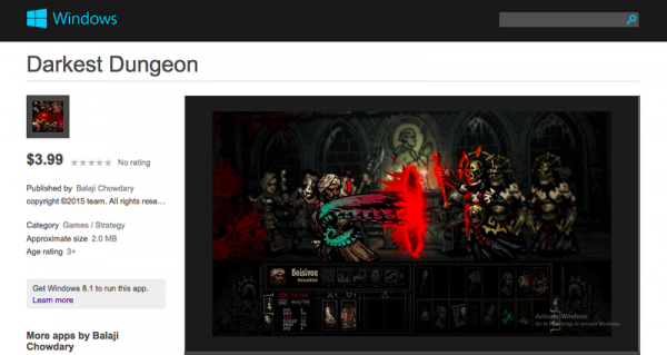darkest dungeon windows store scam listing