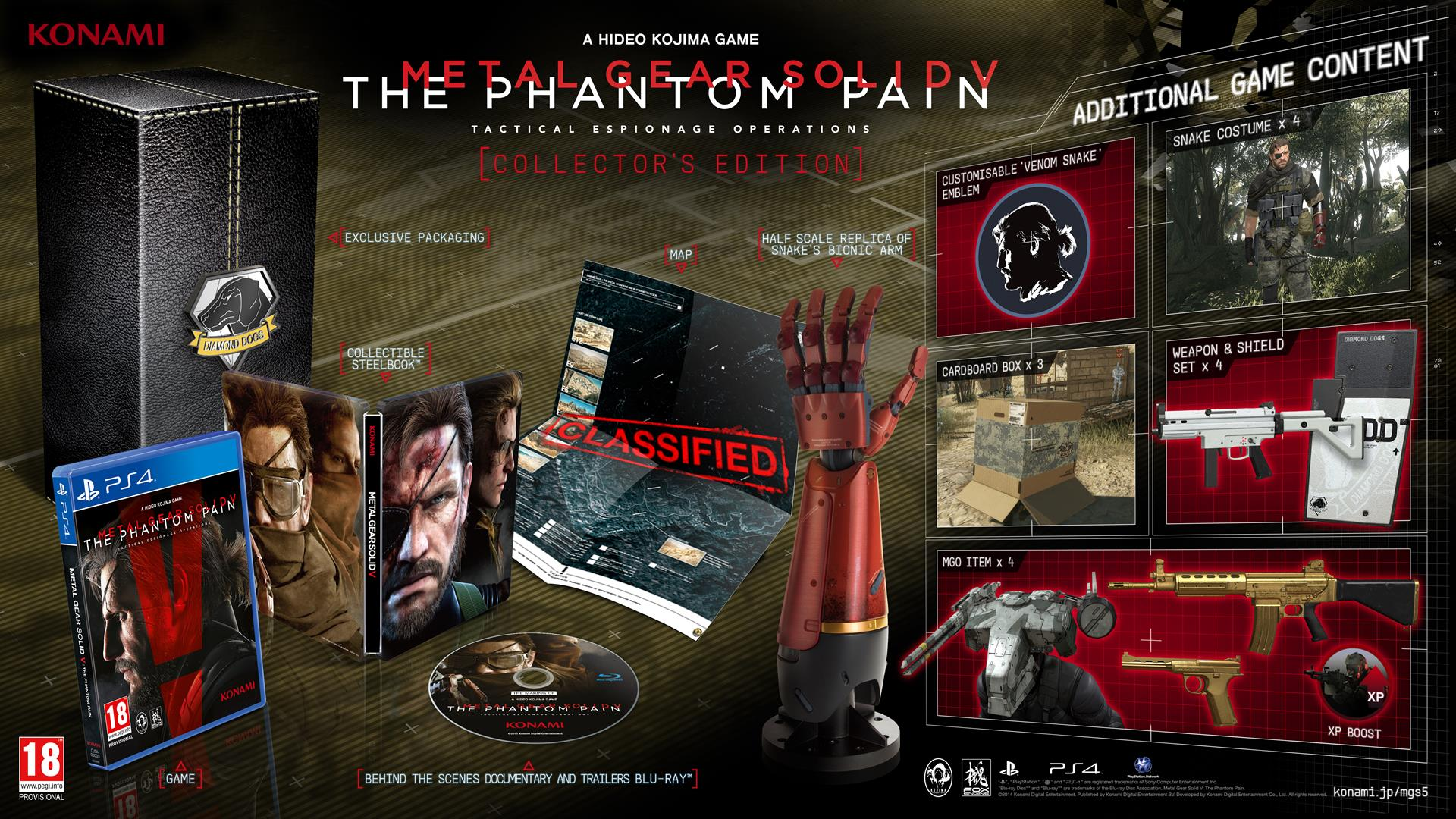 These close-up photos of mgs v: the phantom pain limited edition.