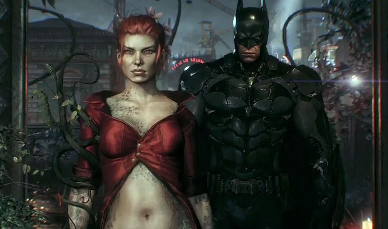 poison ivy takes a ride in the batmobile in this batman arkham