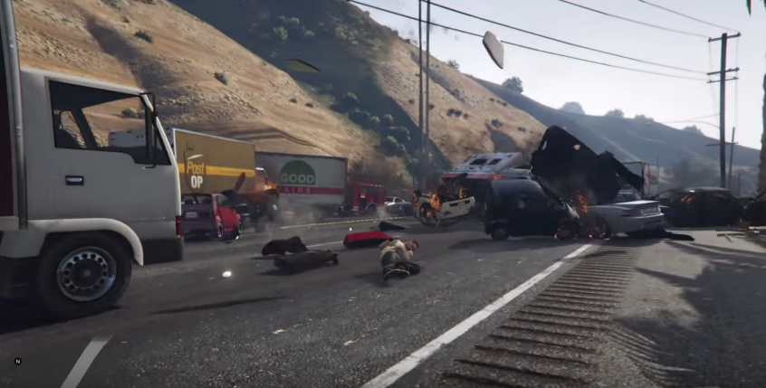 GTA 5 car crash keeps escalating for five whole minutes - VG247