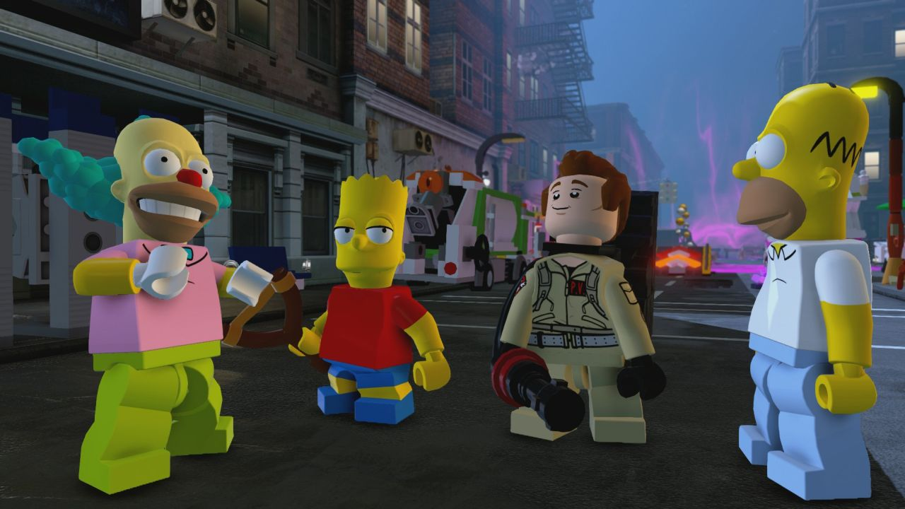 The Simpsons In Game Screenshots For Lego Dimensions Show Homer Hanging With Slimer Vg247