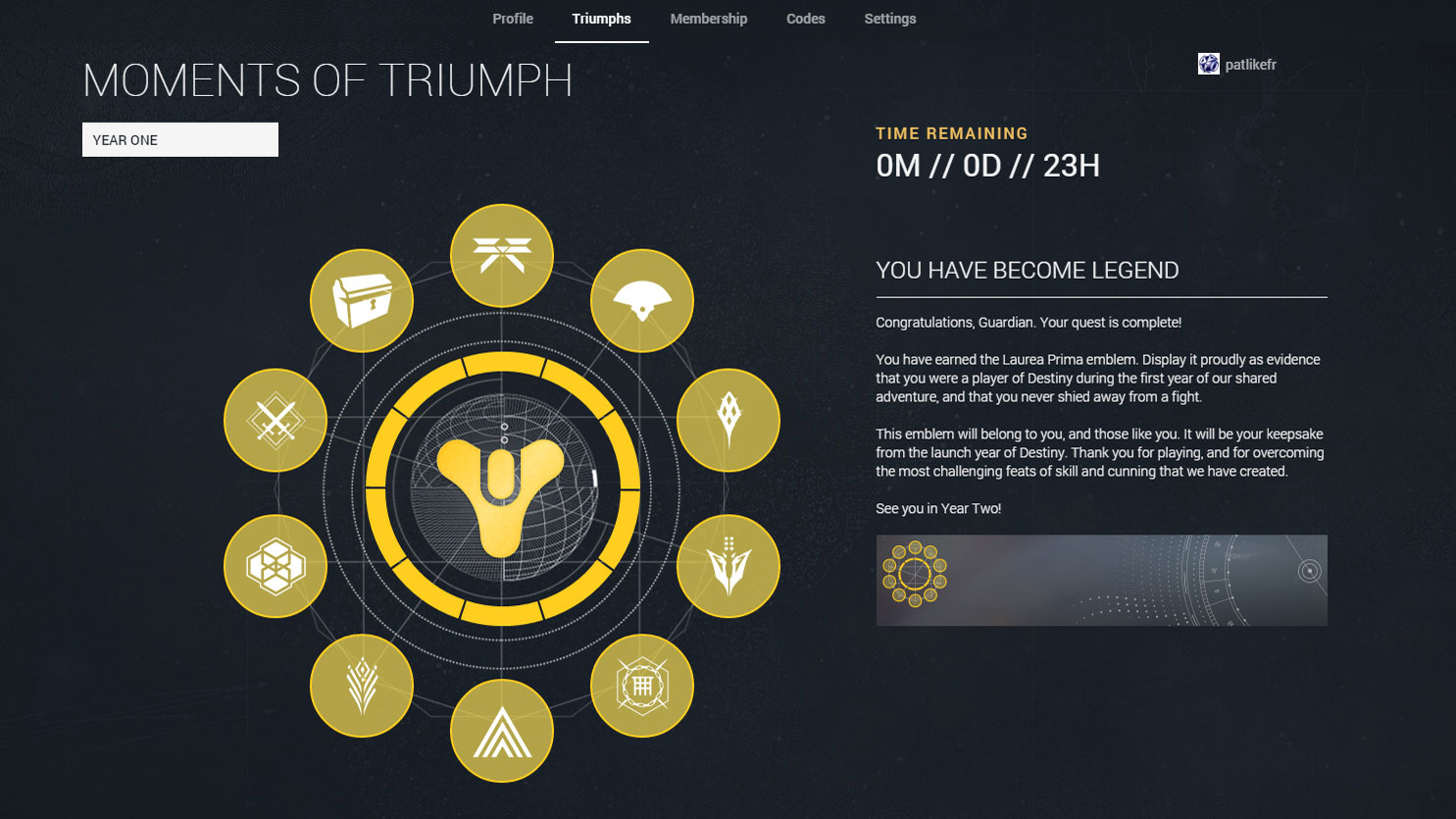 i beat destiny's moments of triumph before the taken king, but
