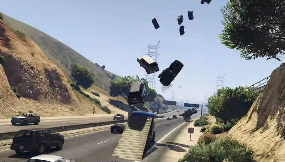 GTA 5: a semi-truck using the trailer as a plow makes for a