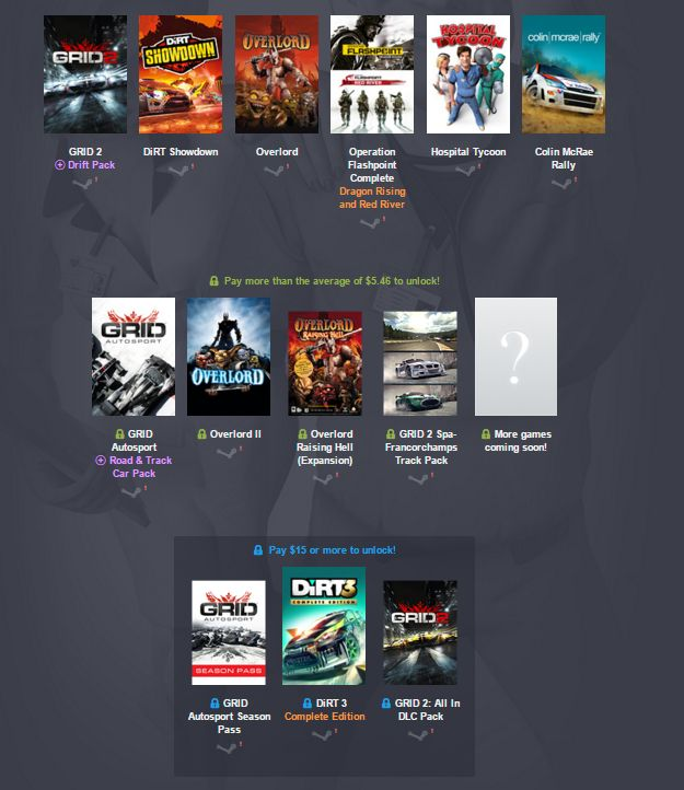 Unsurprisingly, the Humble Codemasters Bundle is full of racing