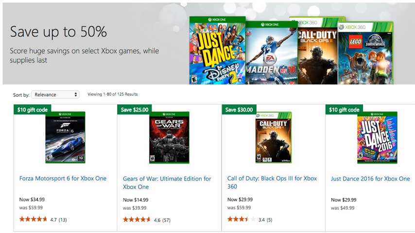 xbox game prices slashed up to 50 in microsoft store black friday