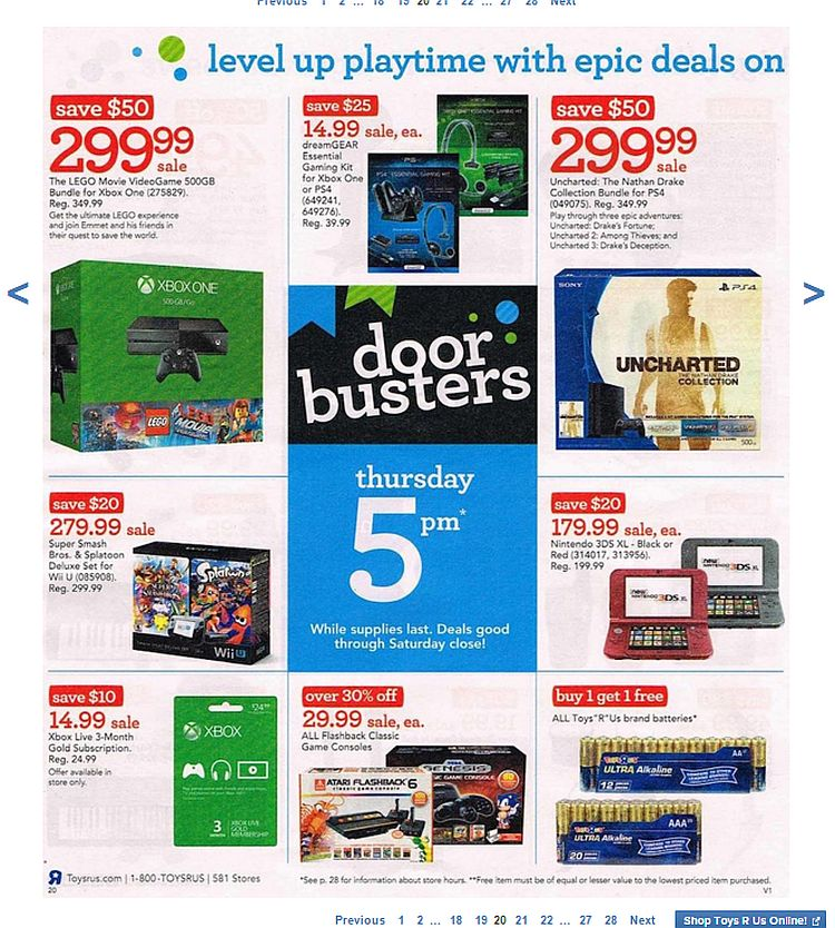 Toys R Us Black Friday 2015 Ps4 And Xbox One Deals On Par With