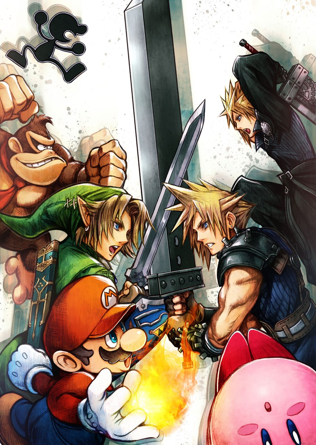 super_smash_bros_cloud_strife_final_fantasy_illustration