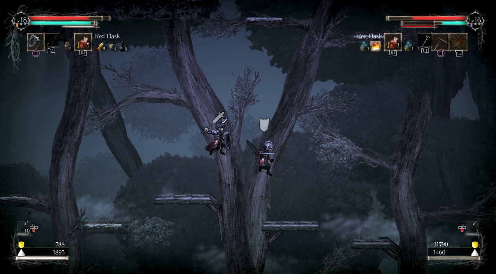 A typical platforming sequence in Salt and Sanctuary