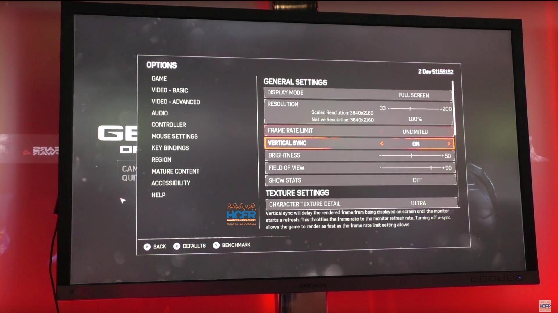 The PC graphics settings menu for Gears of War 4 is a bit ridiculous