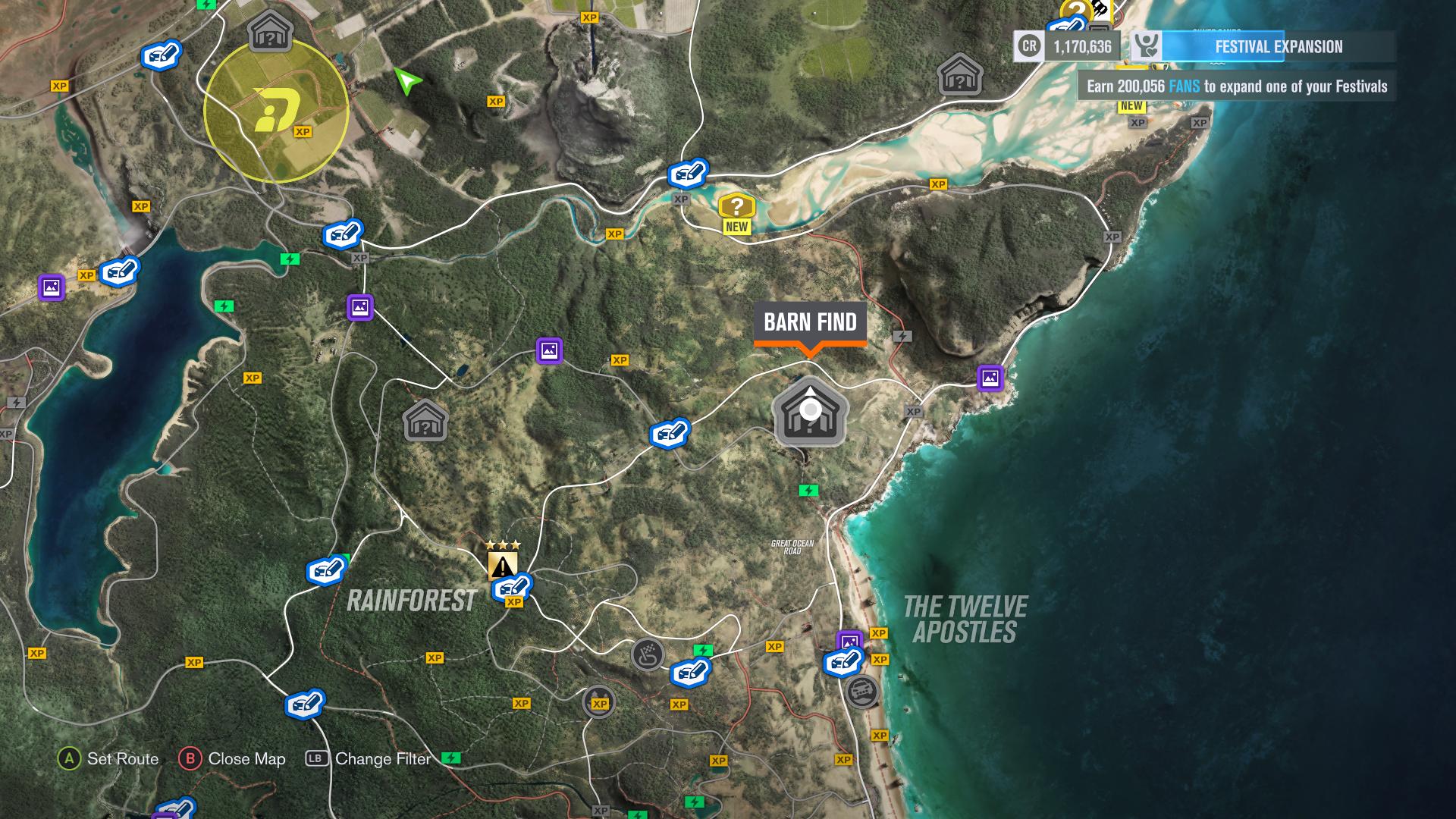 Forza Horizon 3 Car Barn Finds Visual Guide