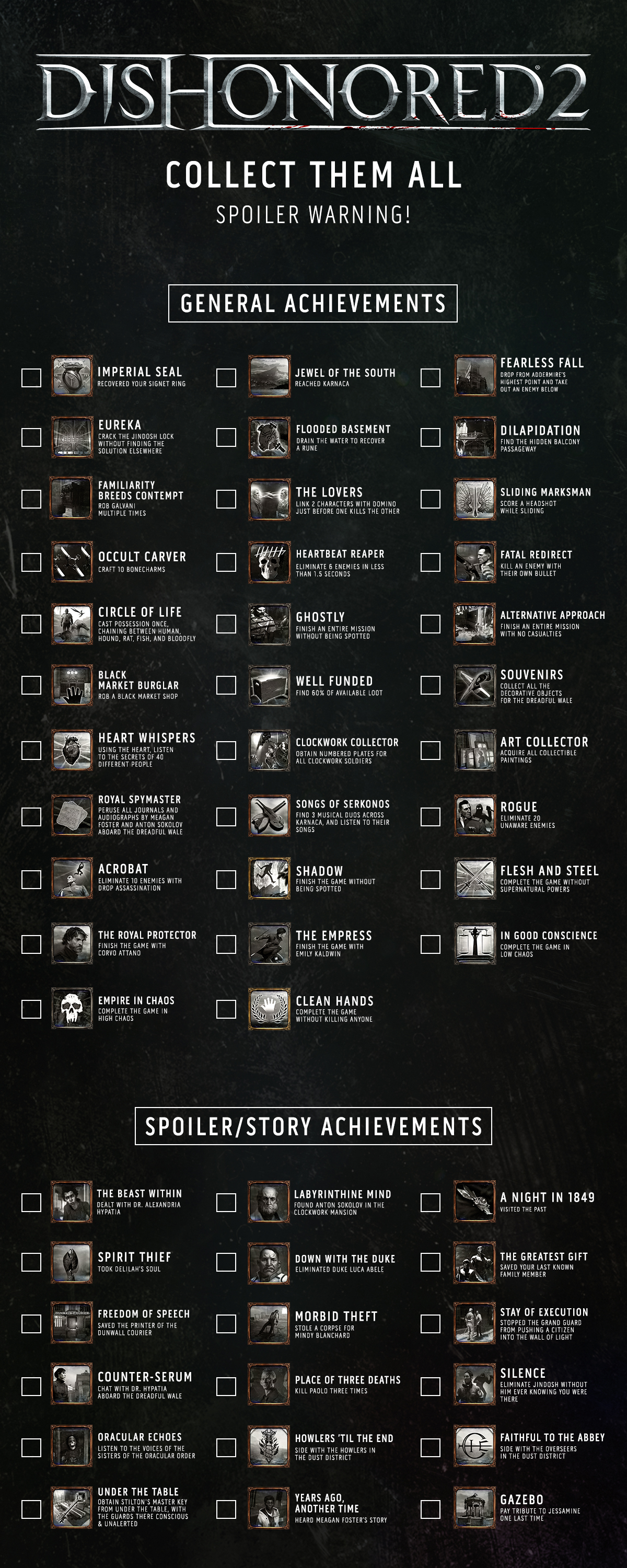 dishonored 2 achievement list