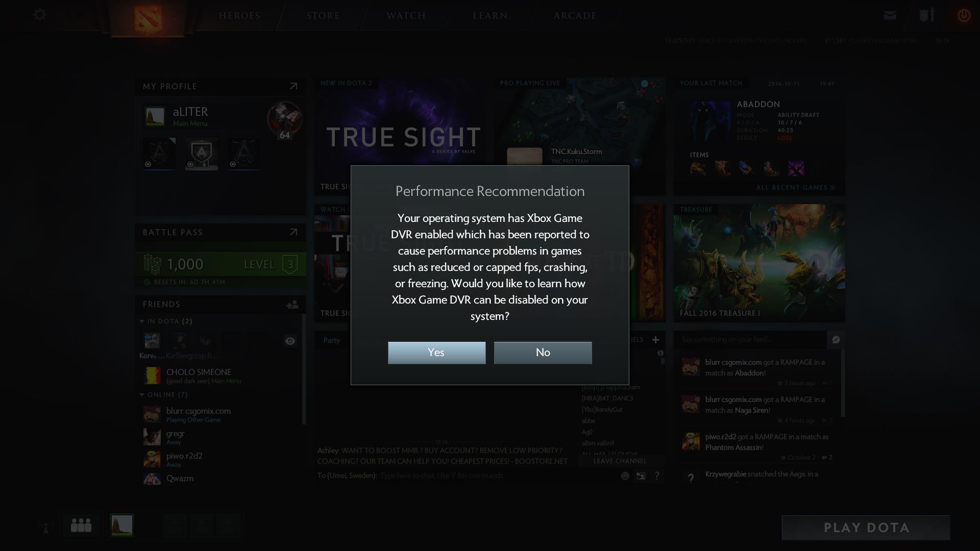 Valve to Dota 2 players on Windows 10: disable Xbox Game DVR for