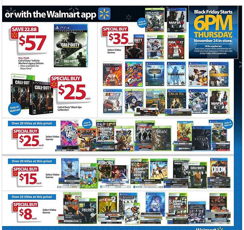 Walmart Black Friday 2016 deals: nearly 90 games will be on