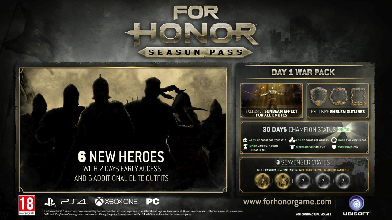 For Honor's Season Pass Revealed, Includes Six New Heroes