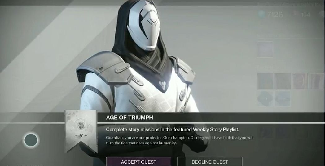 destiny: age of triumph – weekly rituals, treasure of ages loot
