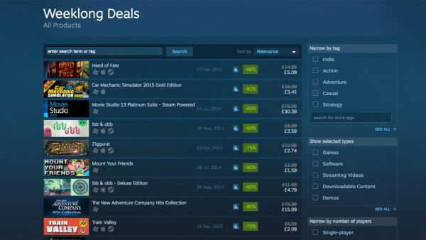 Steam Weeklong Deals