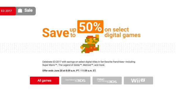 E3 Nintendo 50% off games