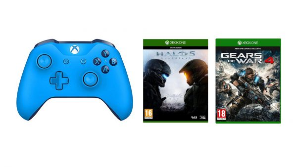 Xbox One Blue Wireless Controller with Halo 5 and Gears 4