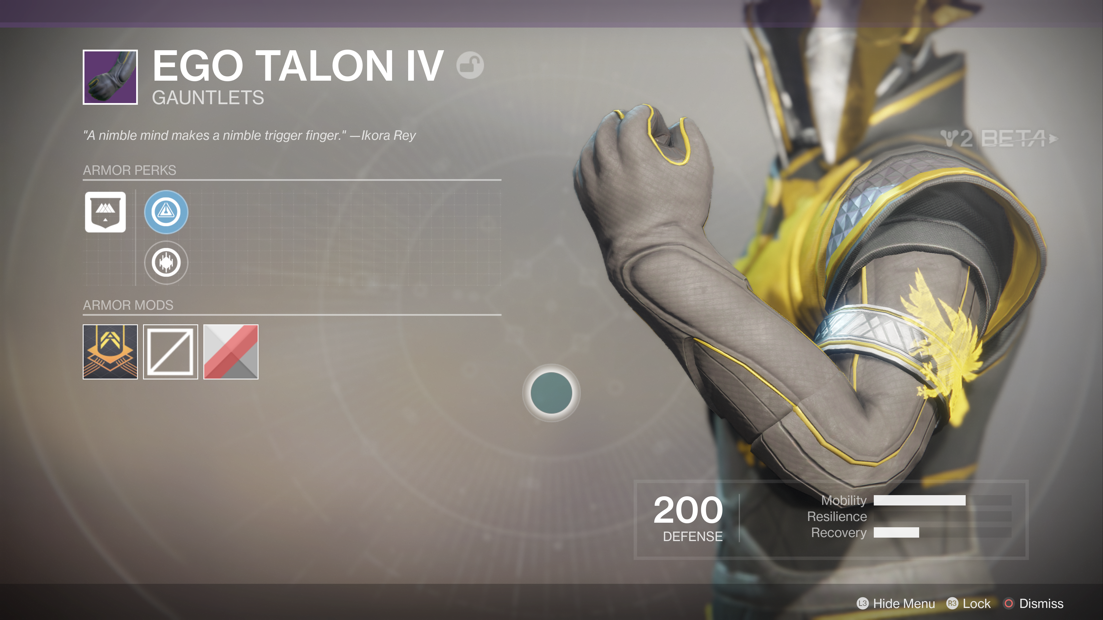 destiny 2 beta ego talon IV gauntlets