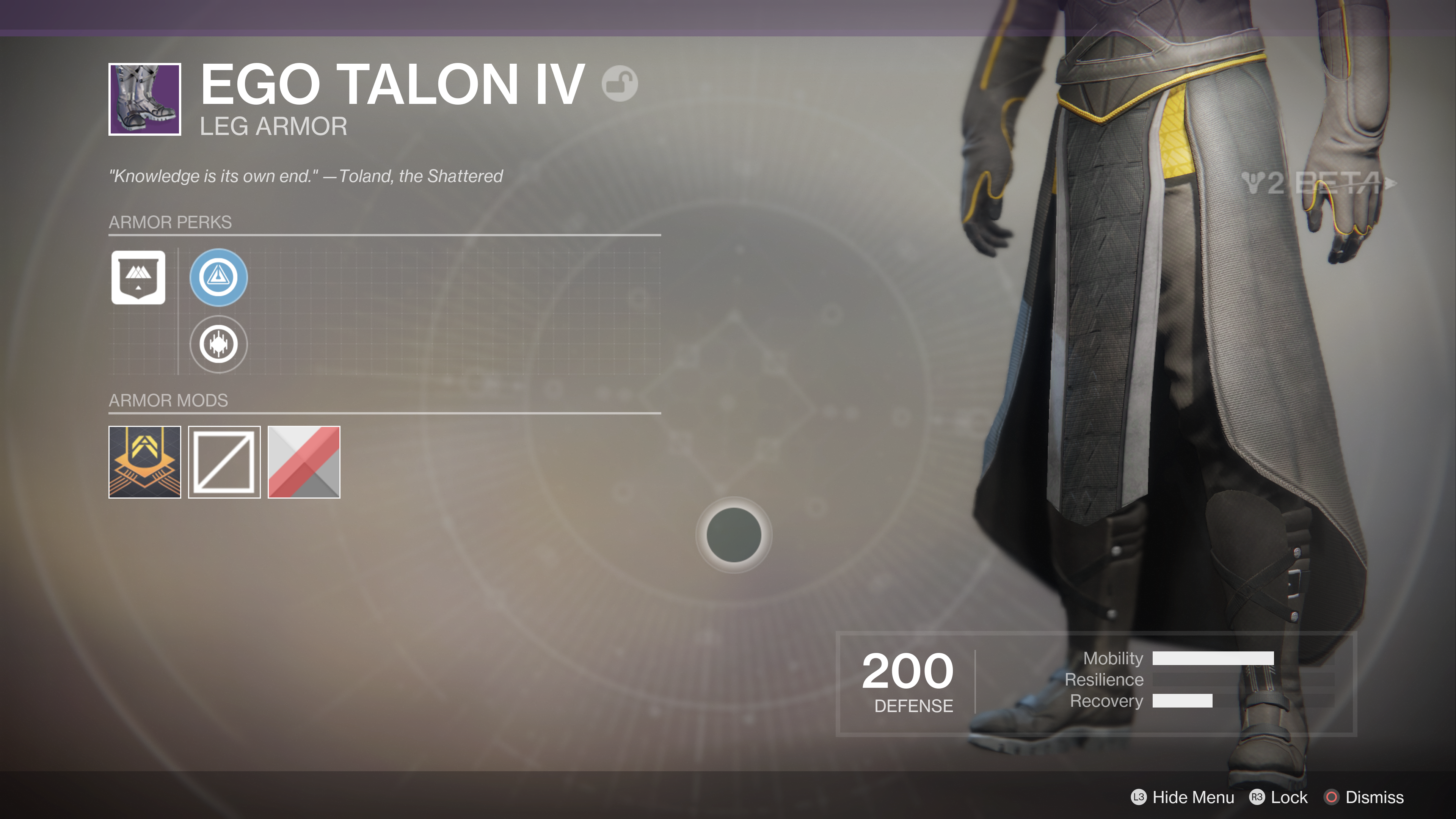 destiny 2 beta ego talon IV leg armour