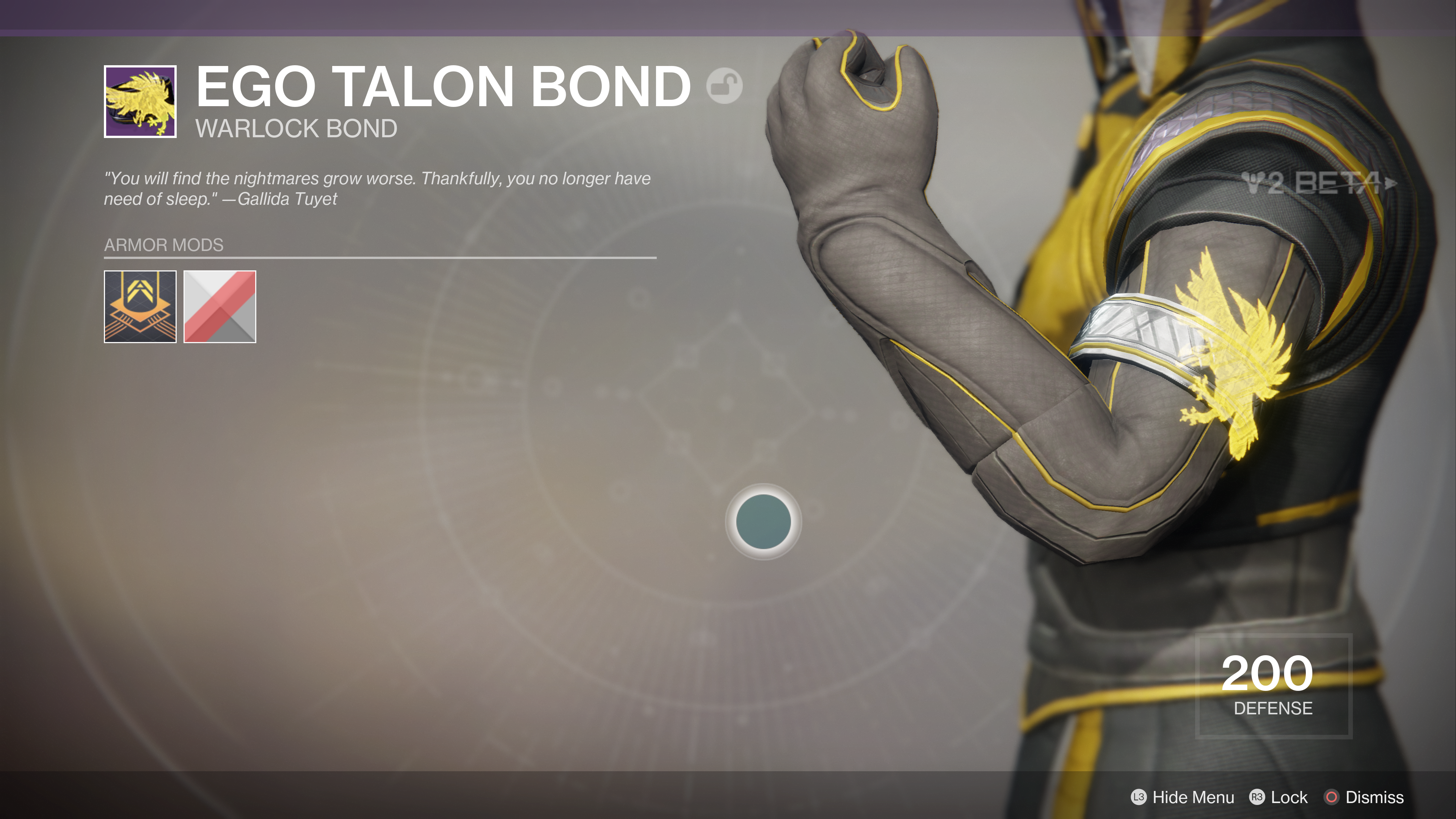 destiny 2 beta ego talon bond