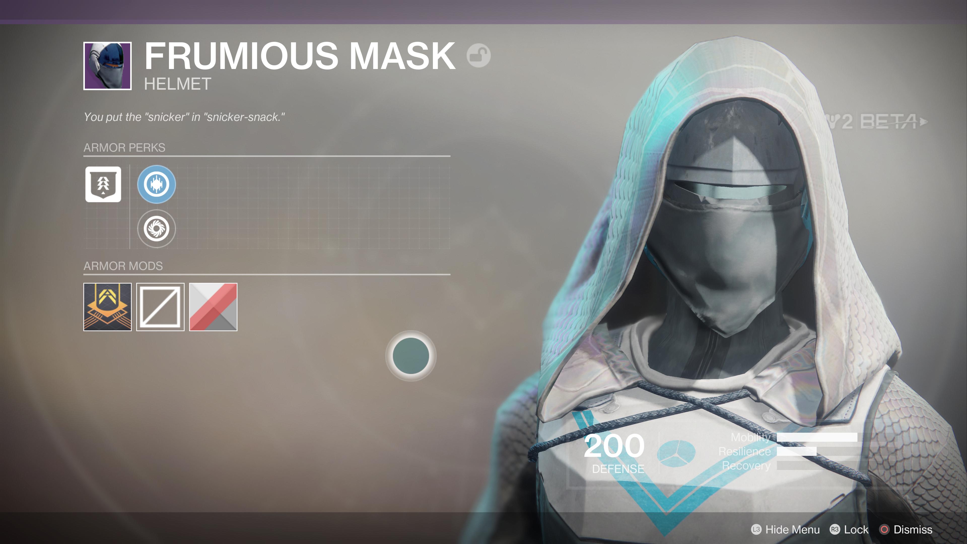 destiny 2 beta frumious mask