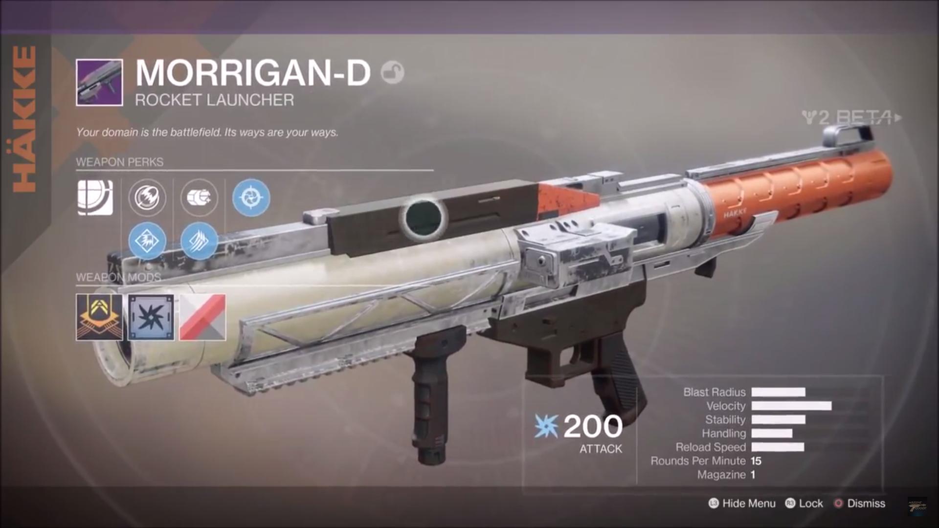 destiny 2 beta morridan-d rocket launcher