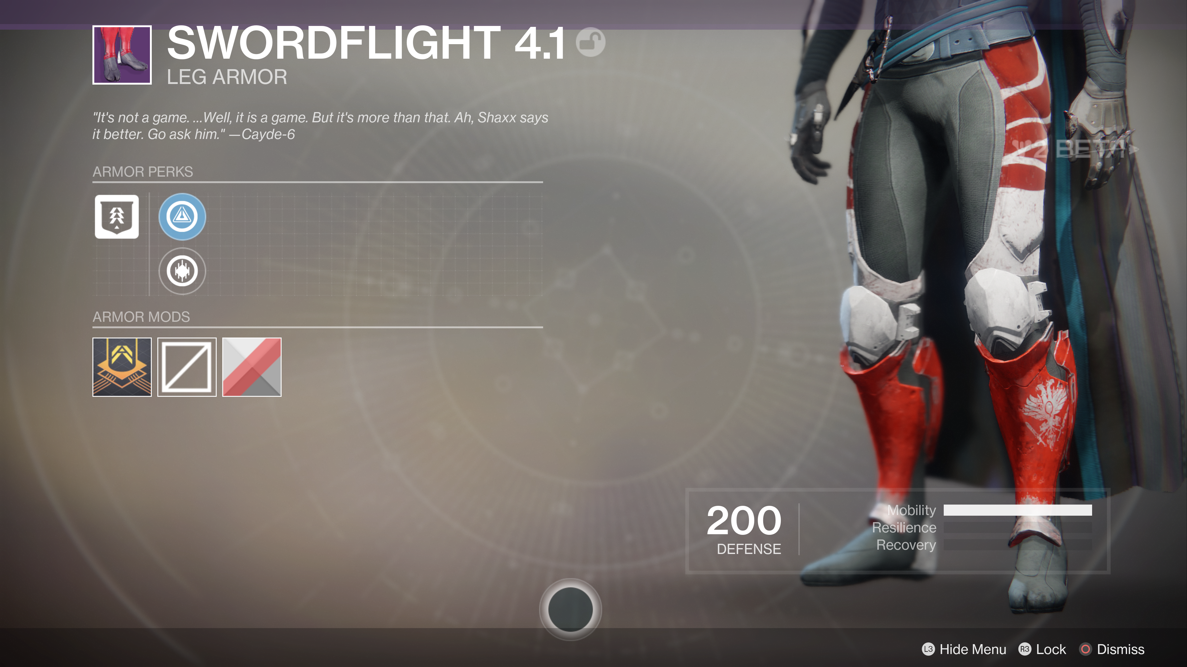 destiny 2 beta swordflight 4.1 legs