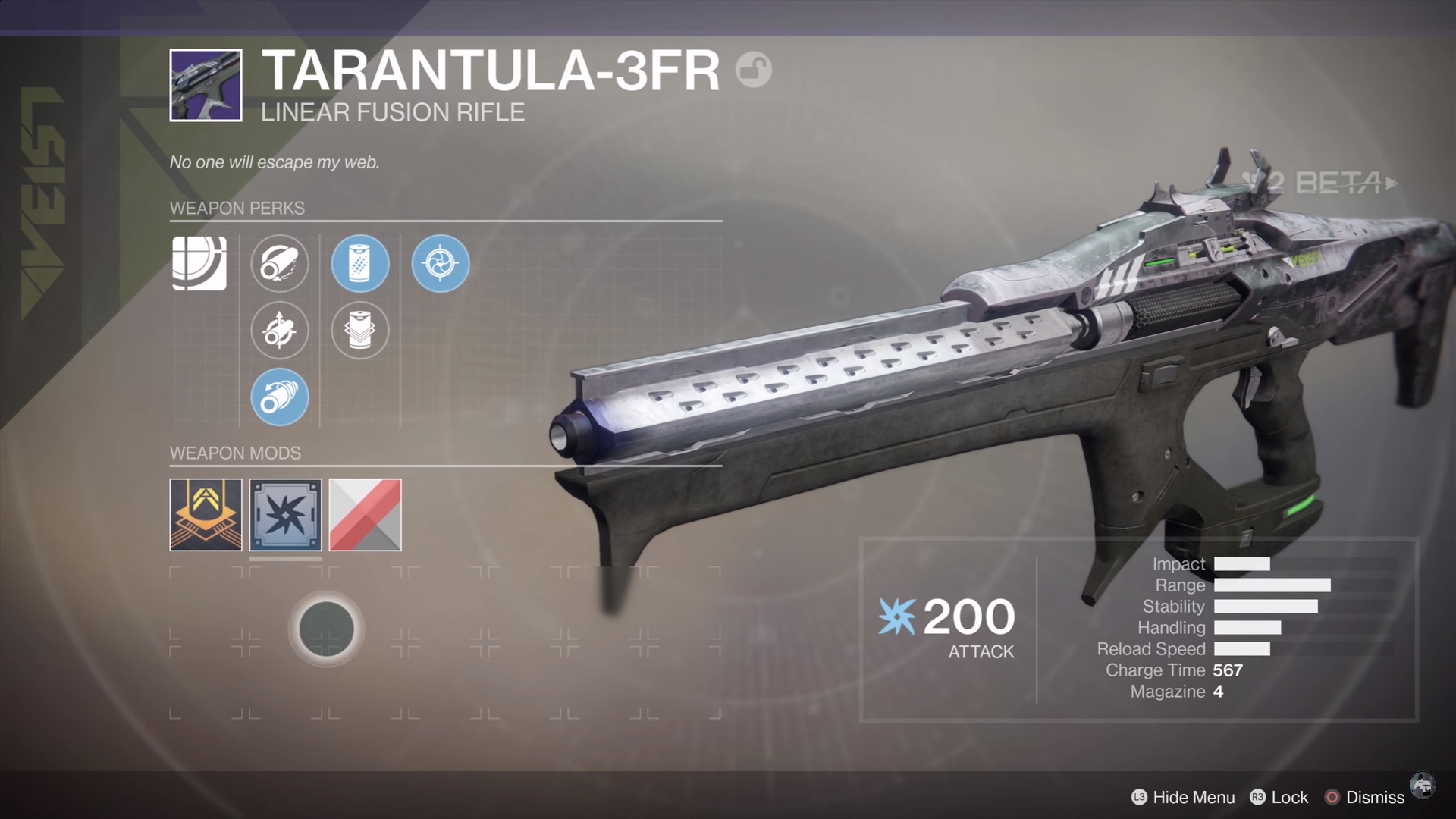 destiny 2 beta tarantula-3FR linear fusion rifle