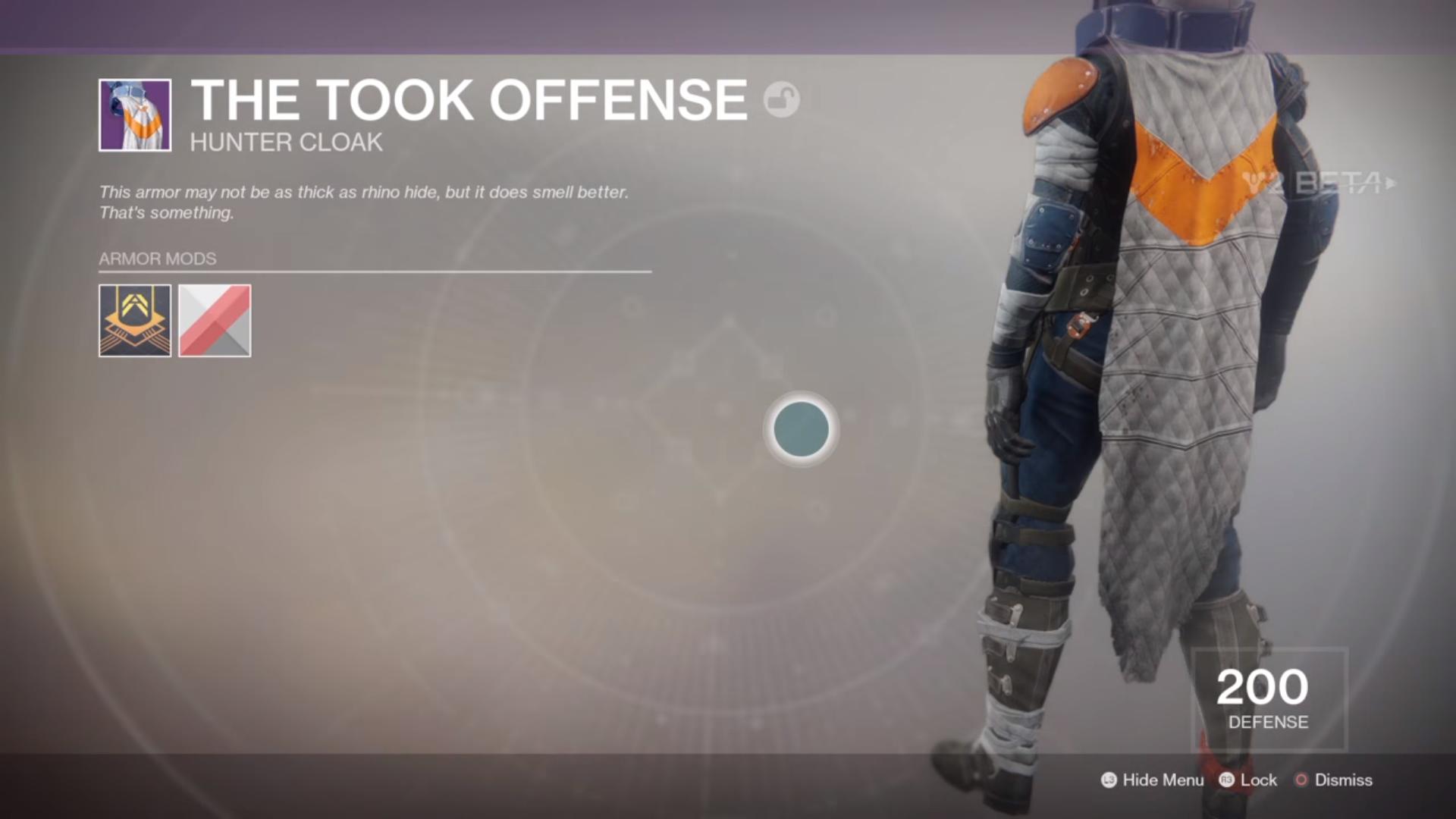 Destiny 2 Beta The Took Offense Cloak