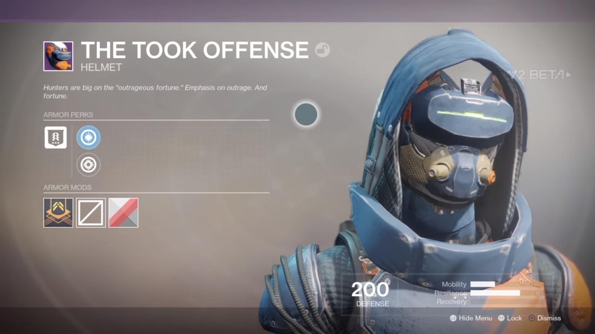 destiny 2 beta the took offense helmet