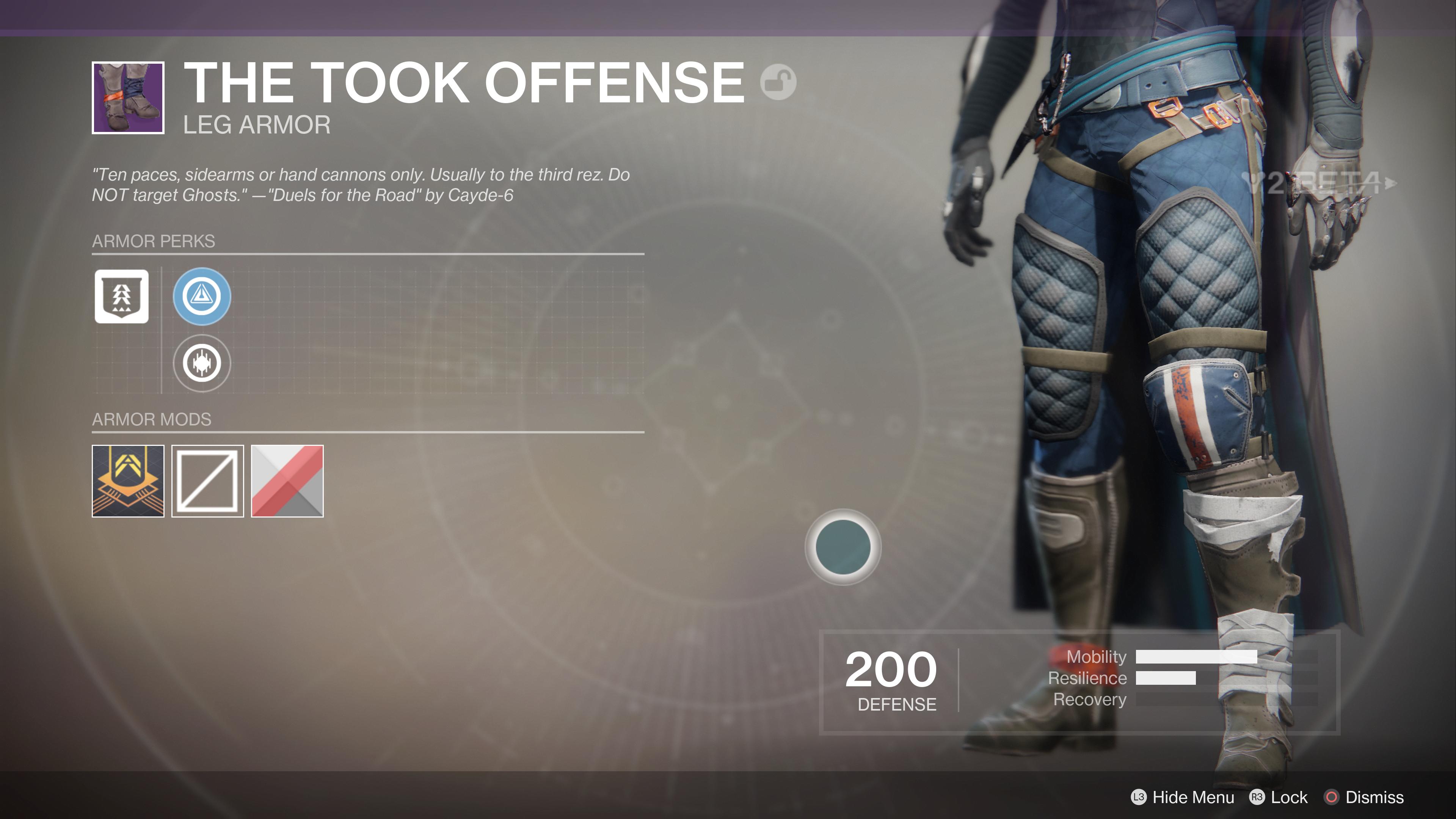 destiny 2 beta the took offense legs