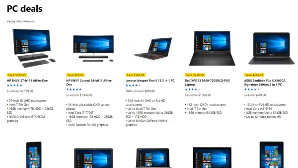 Microsoft store PC computers