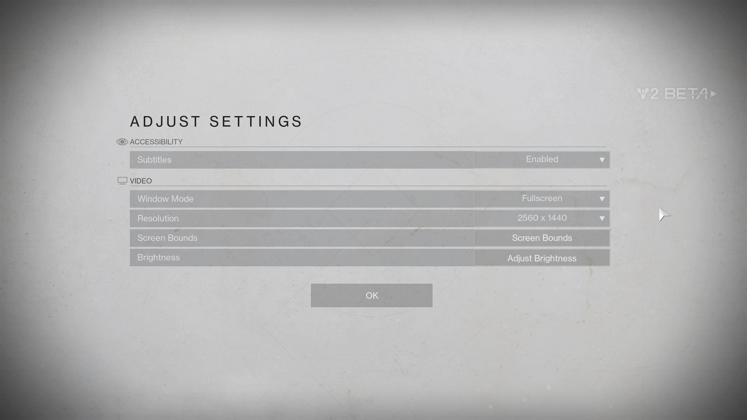 The Destiny 2 PC beta has an impressive settings menu - see