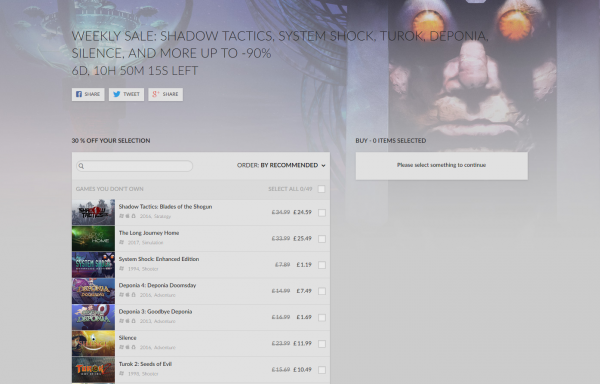 GOG's Weekly Sale includes Turok, System Shock 2, Shadow Tactics