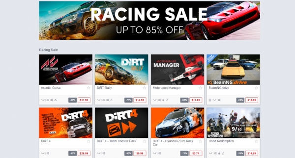 racing sale week humble store