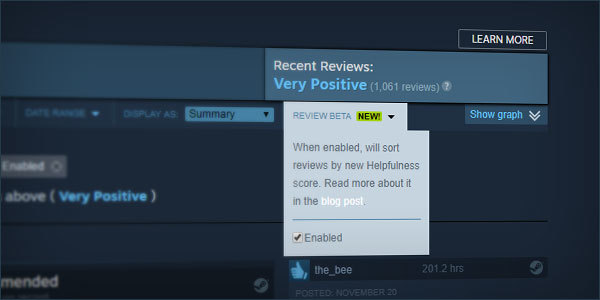 Valve makes further changes to Steam reviews