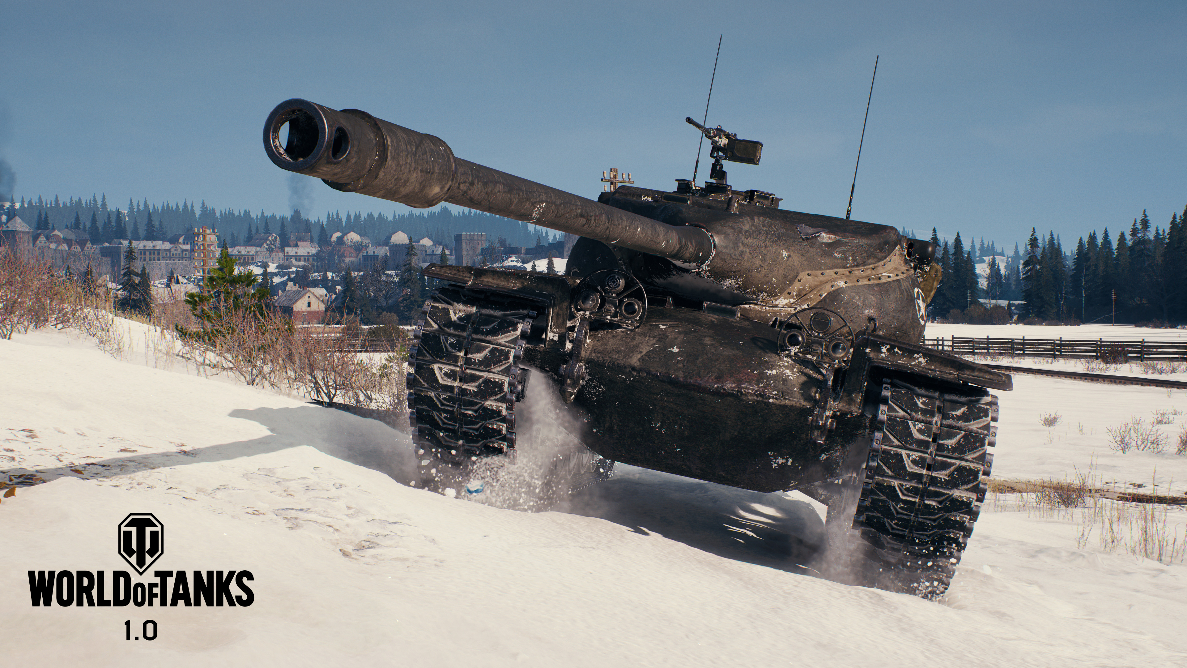 A tank rolls through the snow in World of Tanks 1.0