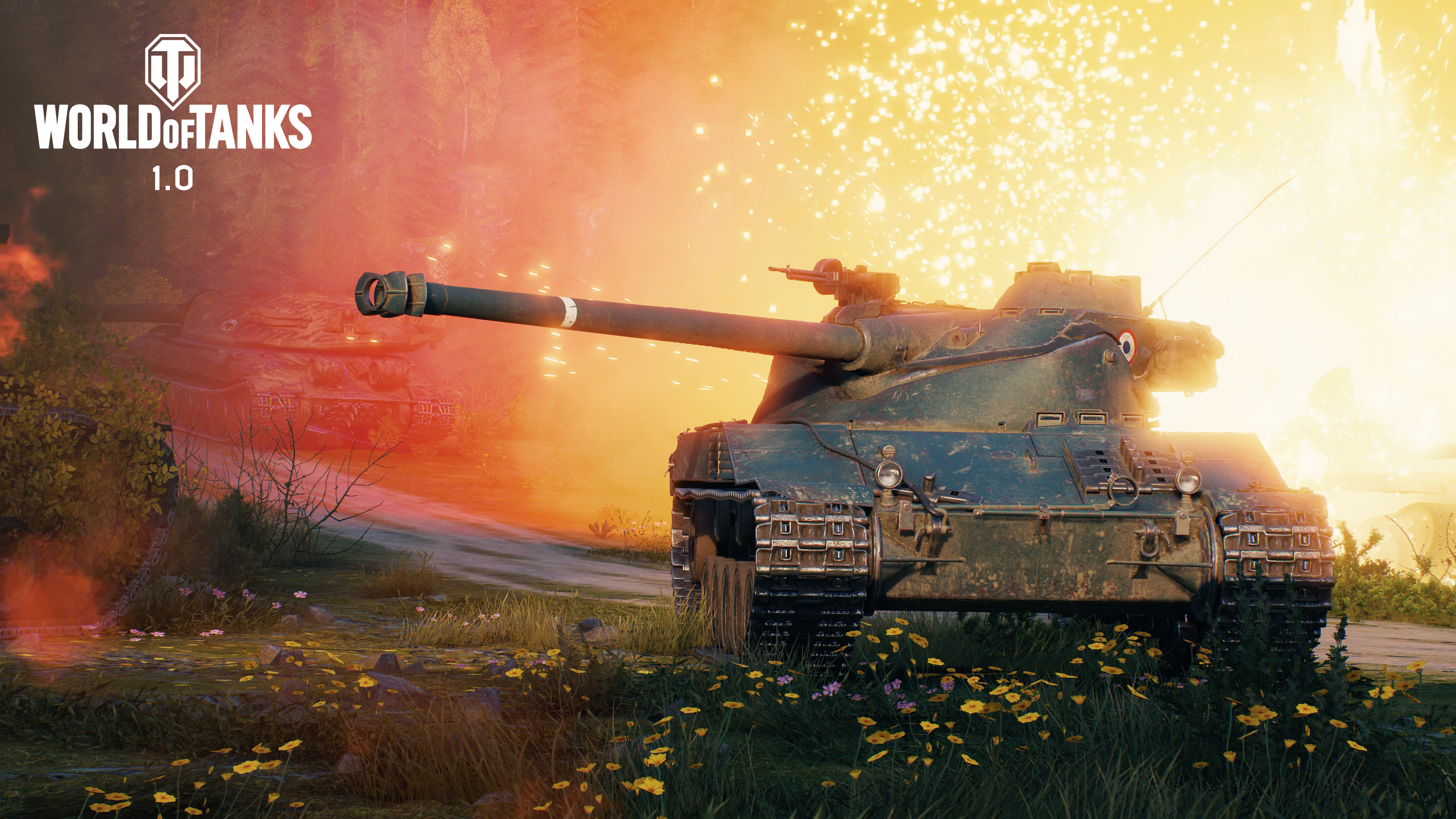 A tank rolls away from an explosion in World of Tanks