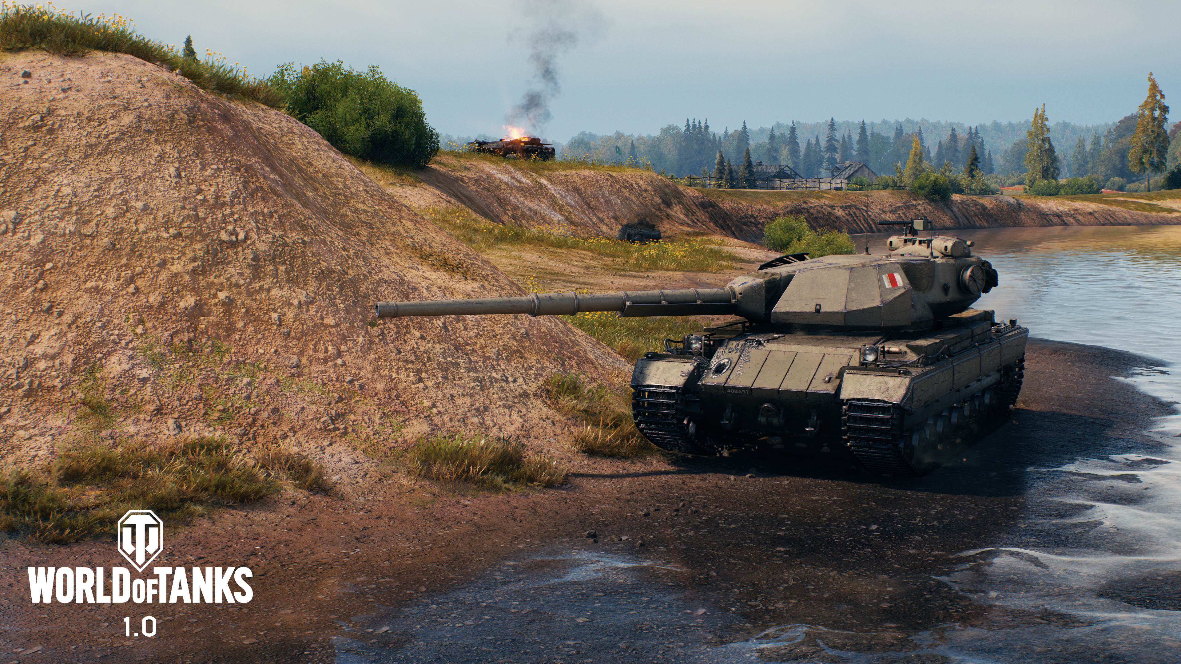 A tank flanks through the water in World of Tanks 1.0