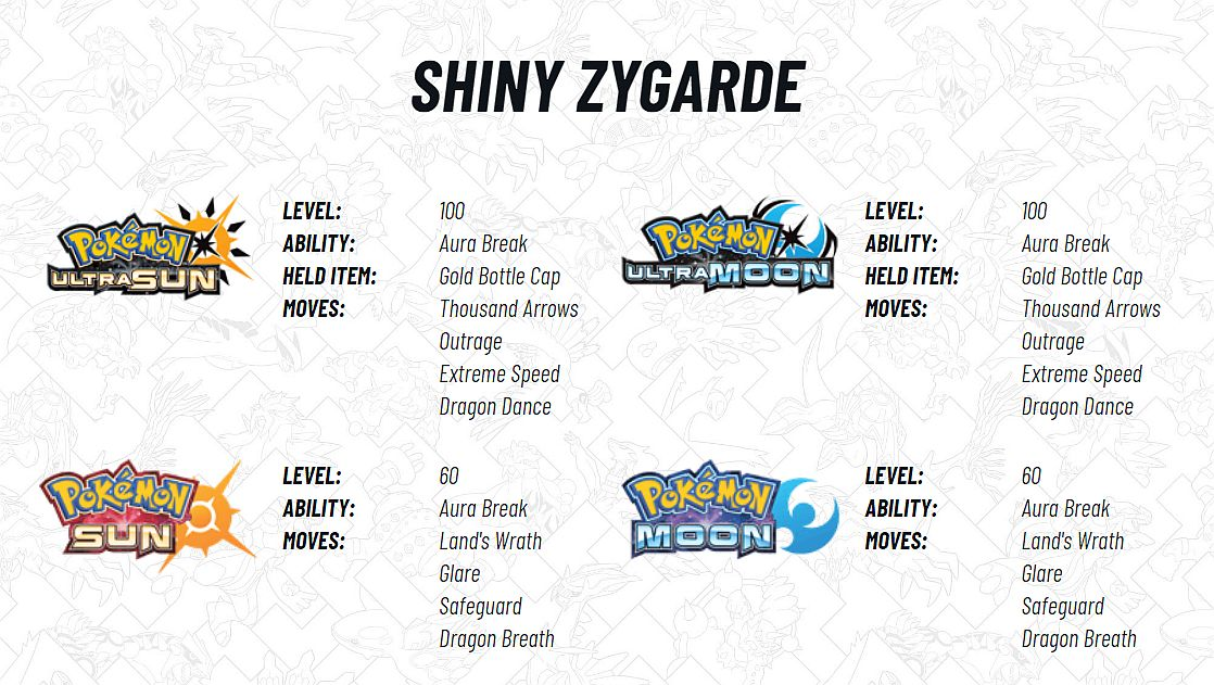 Pokemon Sun and Moon players can catch Shiny Zygarde on June 1