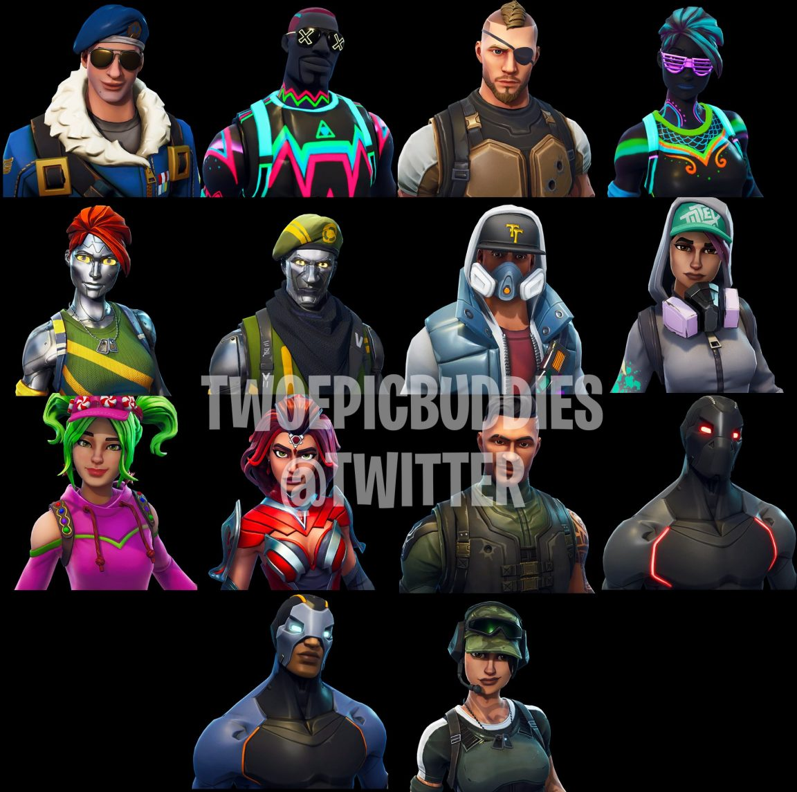 top left we have a fairly standard looking fortnite character although does the furry collar hint at a fan requested changeable weather system to come - new leaked fortnite skins season 5